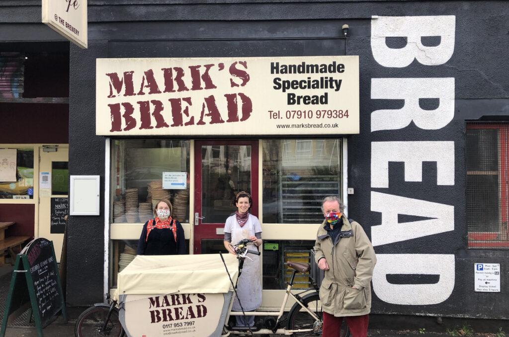 Mel, Rosana and George outside Mark's Bread
